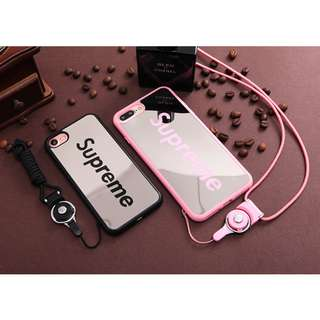 iPhone X/8/8+/7/7+/6/6+/5/5s/SE Mirror Silicone Case+Lanyard