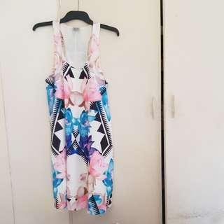 Floral Tribal Pattern White Tank Dress