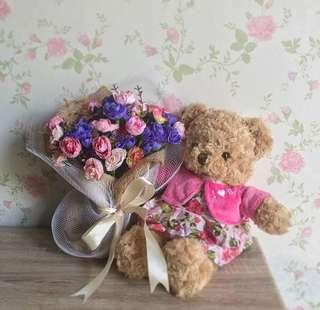 Teddy bear cardigan pink premium
