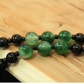 綠岫玉黑曜石珠鏈/玉石項鍊/珠鏈/玉石/項鍊