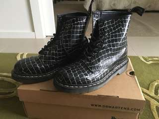 Dr Martens black and silver boots