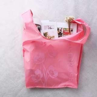 日本粉色系 house of rose 玫瑰花朵圖案可折疊手提環保袋 購物袋