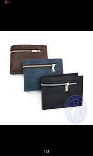 3 fold zipper design mens wallet