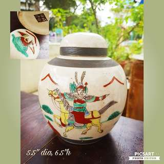 Vintage Hand-made Round Ceramic Tea Container with Cover. Motif of Ancient Chinese Warriors on Horse-back. Medium size. Good condition, no chip no crack. $20 clearance offer. Sms 96337309 for fast deal.