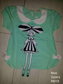 Kids girl green shirt