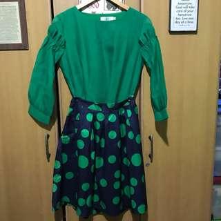 Green Blouse (XL) & Polka Dots Skirt (Small)
