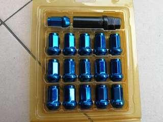 Rim Wheel Nuts Heptagon Blue
