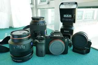 Sony A7, Zeiss 16-35 f2.8, 85 f1.4, F60M flash, La-Ea4