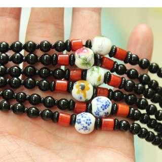 青花瓷珠鏈/玉石項鍊/珠鏈/玉石/項鍊
