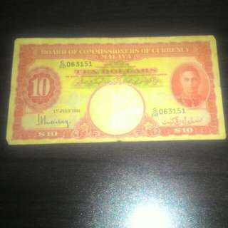 OLD BANK NOTE (MALAYAN CURRENCY 10 DOLLARS)