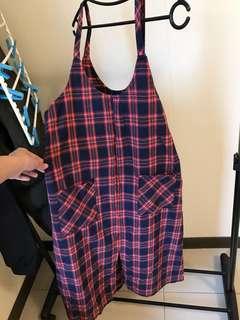 藍紅格子背心裙 韓國購入