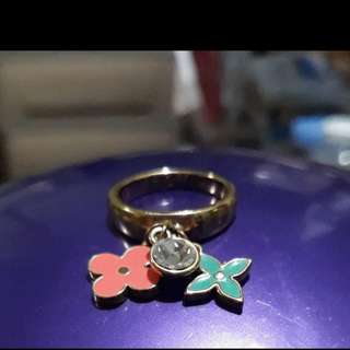 Chic style gold plated ring with charms