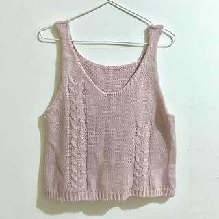 藕粉針織背心 毛衣