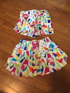Matching baby girl's skirt & shorts