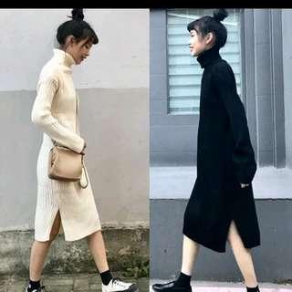 🚚 高領針織純色開叉連身裙-黑色