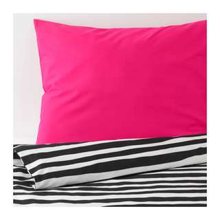 [IKEA] URSKOG Quilt cover and pillowcase, zebra, striped
