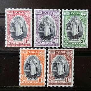 [lapyip1230] 英屬東加王國 1943年 女王登基周年 雙色套印 新票全套 Set Mint