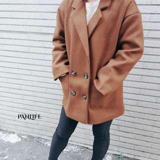 🚚 翻領四粒釦短版西裝毛呢大衣