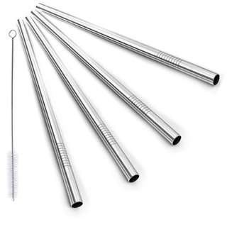 Set of 4 Bubble Tea 304 Stainless Steel Reusable Straws with 1 Brush Pipe Cleaner
