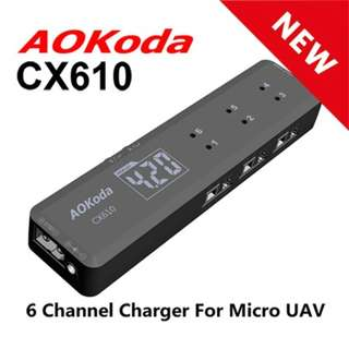 AOKoda CX610 6 Channel 1S LiPo Battery Charger - In Stock Now!!
