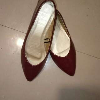 Flat Shoes Leather (maroon)