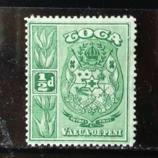 [lapyip1230] 英屬東加王國 1920年 皇室徽紋 原膠新票 Mint