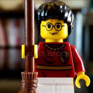Lego Minifigure Harry Potter Quidditch Uniform Yellow Face Classic with broom