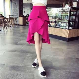 Minimei追加款✪韓系韓版歐美風英倫風百搭休閒 玫紅高腰層層半裙前短後長荷葉邊魚尾裙