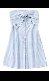 Stripes Bowtie tube mini dress