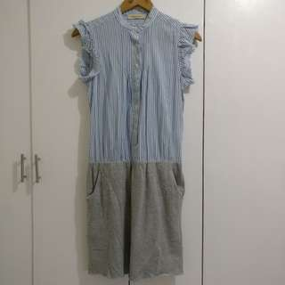 Baby Blue Stripe Top and Grey Skirt Dress