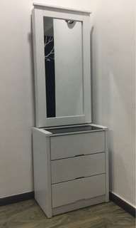 Dressing table, side table, bed frame, mattress, wardrobe