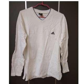 🚚 Adidas 白色長袖上衣 男生L號