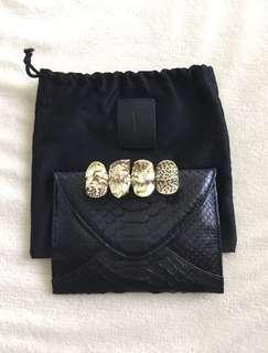 Masion Du Posh Python Leather Knuckle Clutch