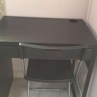 Ikea brown table and chair
