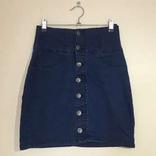 Denim Blue Skirt with Buttons