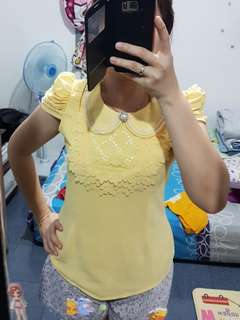 Yellow pearl blouse