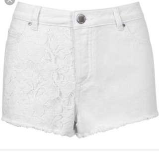Miss Selfridge Petites Crochet Denim Shorts