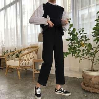 全新 女裝 R283352 黑色九分直筒褲半松緊高腰顯瘦休閑西裝褲