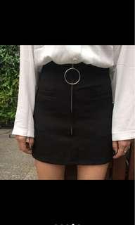 A line Zipper pencil skirt