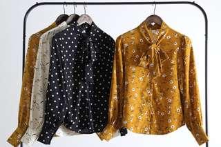 🇰🇷正韓直送✈️芥黃色碎花領子打領巾式宮廷袖口修身襯衫