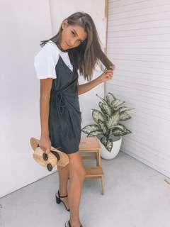 // style heresy - black wrap suede dress
