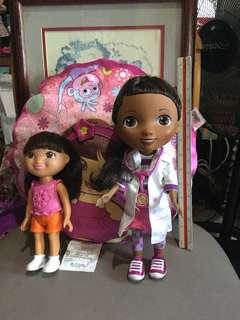 Magic Talking Doc Mcstuffins and Talking Dora with free Cushion