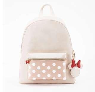 Grace gift X Disney 迪士尼米妮女包卡通雙肩包,學生書包,旅行大背包