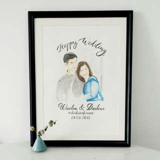 Customized couple portrait with brushletters