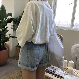全新 女裝 R894609 簡約卷邊牛仔短褲寬松顯瘦闊腿熱褲學生女
