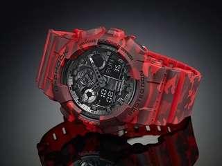CASIO G-SHOCK迷彩雙顯錶-紅/49mm GA-100CM-4ADR / GA-100CM-4A