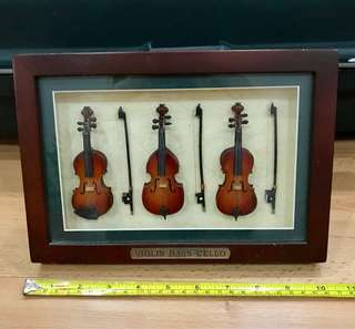 Antique Violin Bass Cello Frame Display