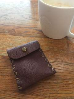 Handmade leather coin purse (brown)