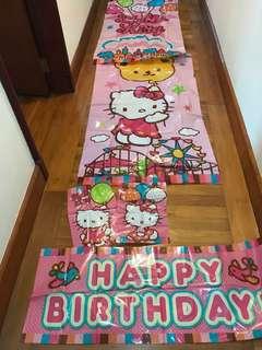 Hello Kitty Birthday Backdrop Banner Set