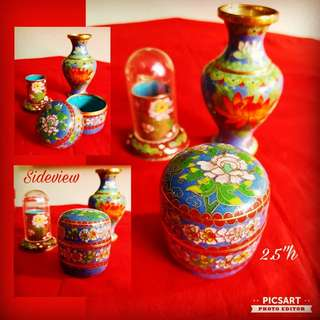 Vintage Hand-made Hand-painted Jing Tai Lang or Fine Chinese Cloisonne Vase, Covered Container and Toothpick Holder. Size in one of the 3 photos. Mint condition, no chip no crack. All 3 items for $28 clearance offer. Sms 96337309 for fast deal.